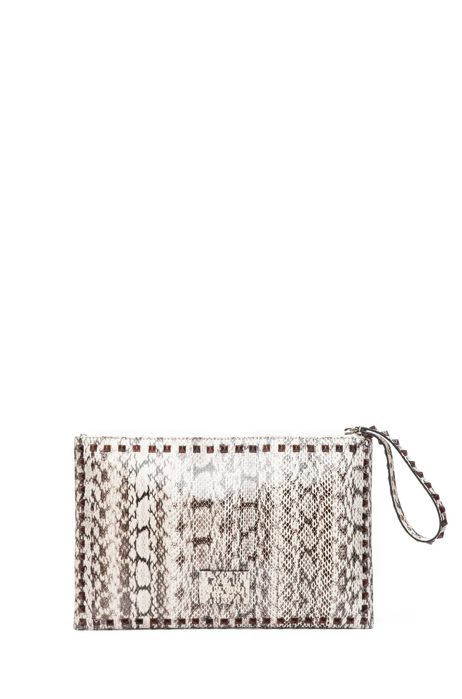 Image 2 of Valentino Rockstud Small Printed Snake Clutch in Light Ivory & Nero