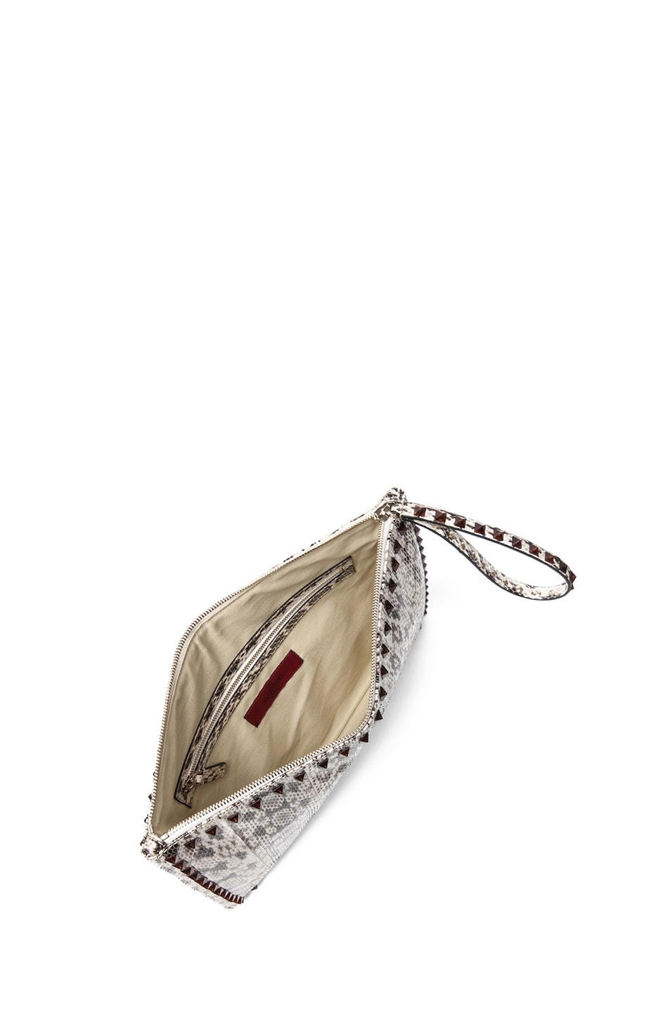 Image 4 of Valentino Rockstud Small Printed Snake Clutch in Light Ivory & Nero