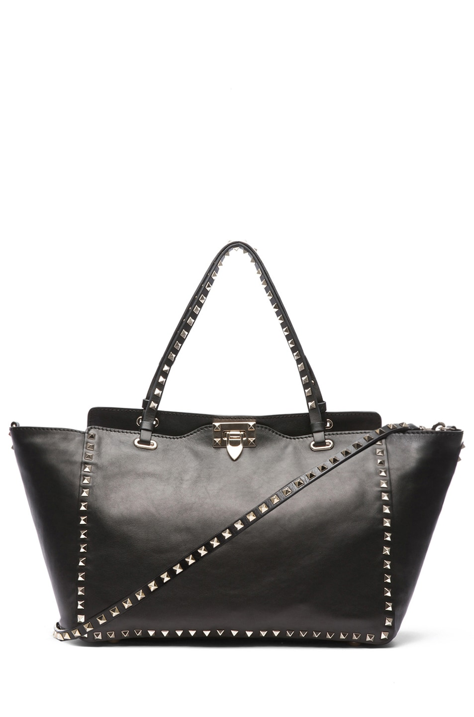 Image 1 of Valentino Medium Rockstud Trapeze Tote in Black