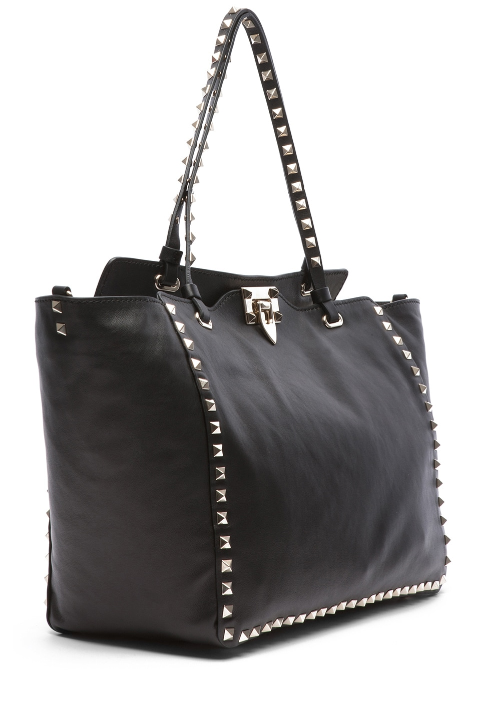 Image 3 of Valentino Medium Rockstud Trapeze Tote in Black