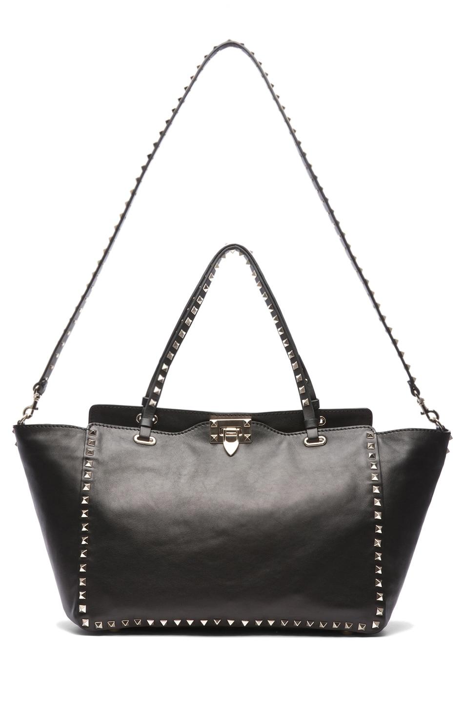 Image 5 of Valentino Medium Rockstud Trapeze Tote in Black