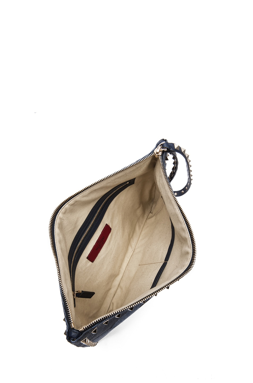 Image 4 of Valentino Small Denim Camo Rockstud Clutch in Marine