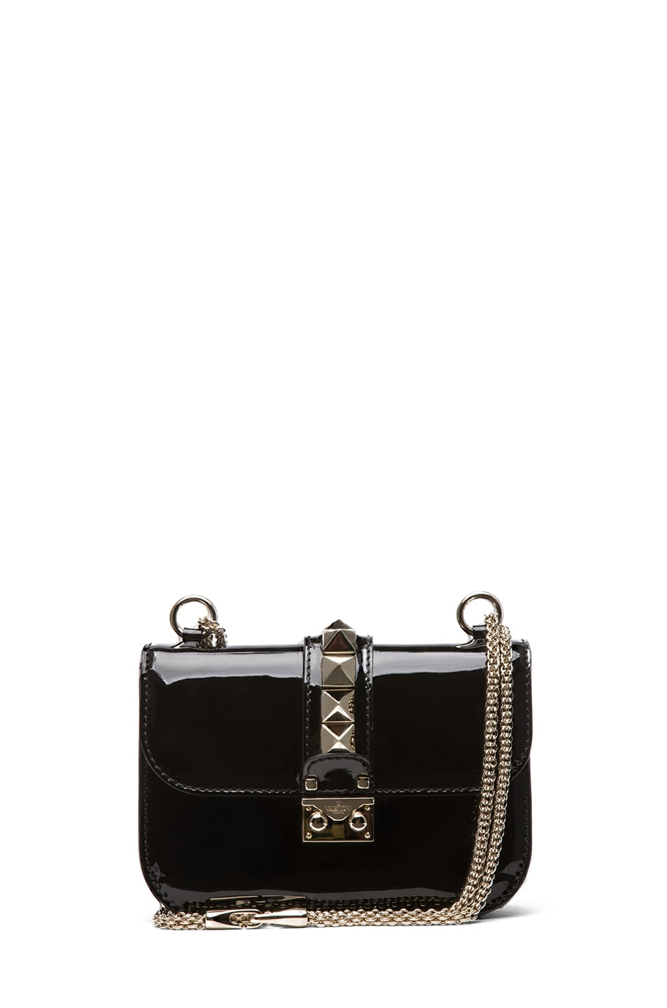 Image 1 of Valentino Small Lock Flap Bag Patent in Black