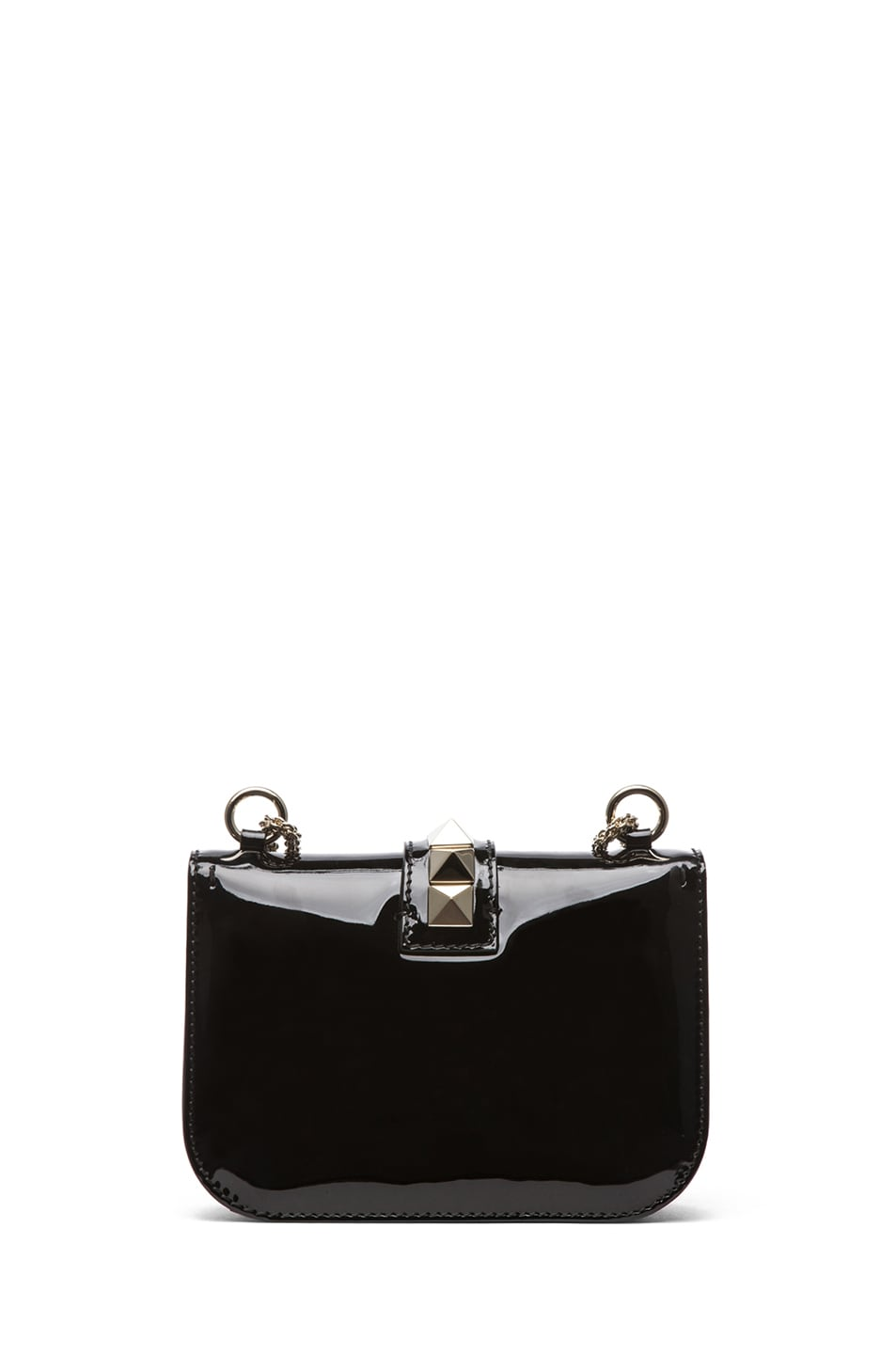 Image 2 of Valentino Small Lock Flap Bag Patent in Black