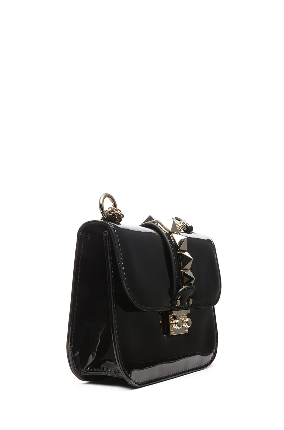 Image 3 of Valentino Small Lock Flap Bag Patent in Black