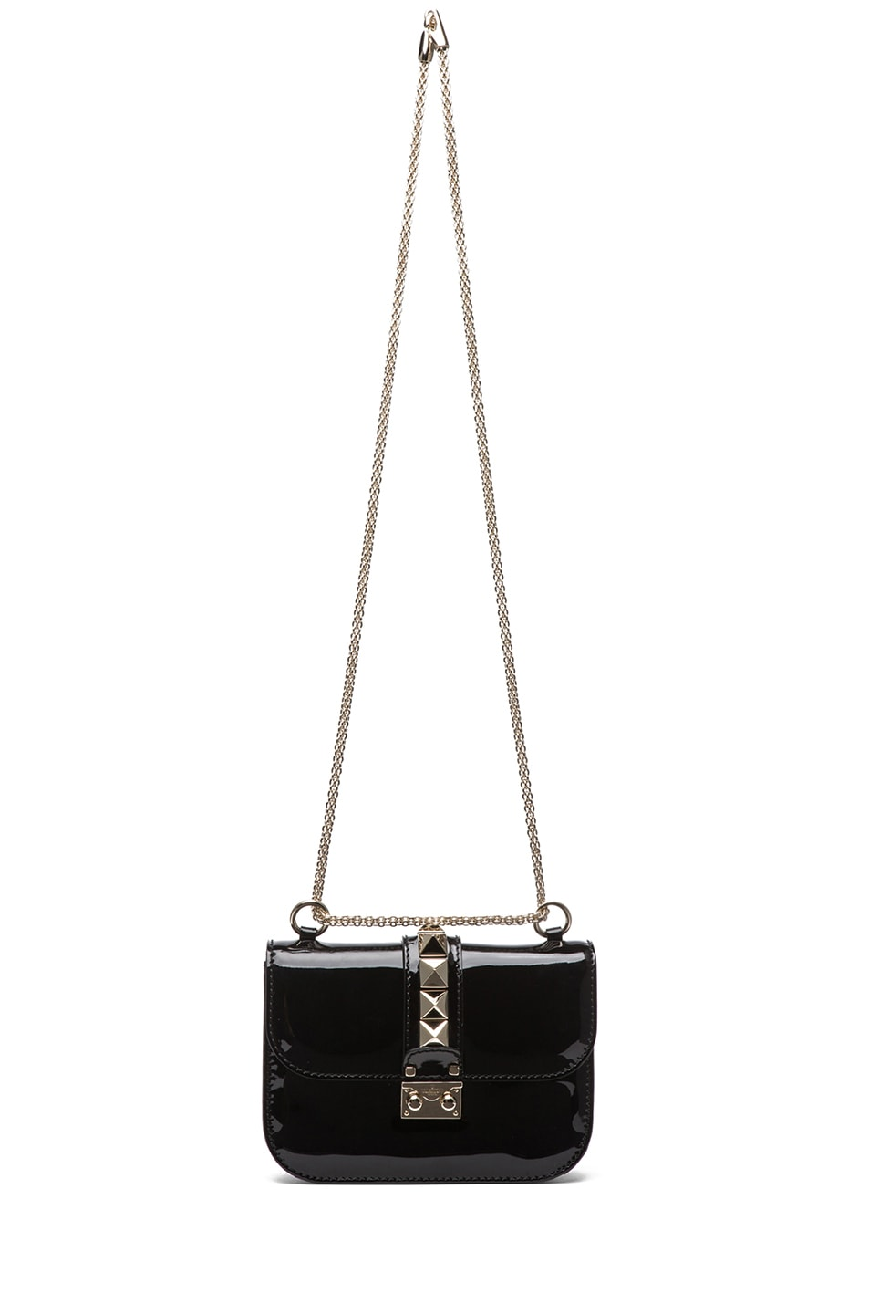 Image 6 of Valentino Small Lock Flap Bag Patent in Black