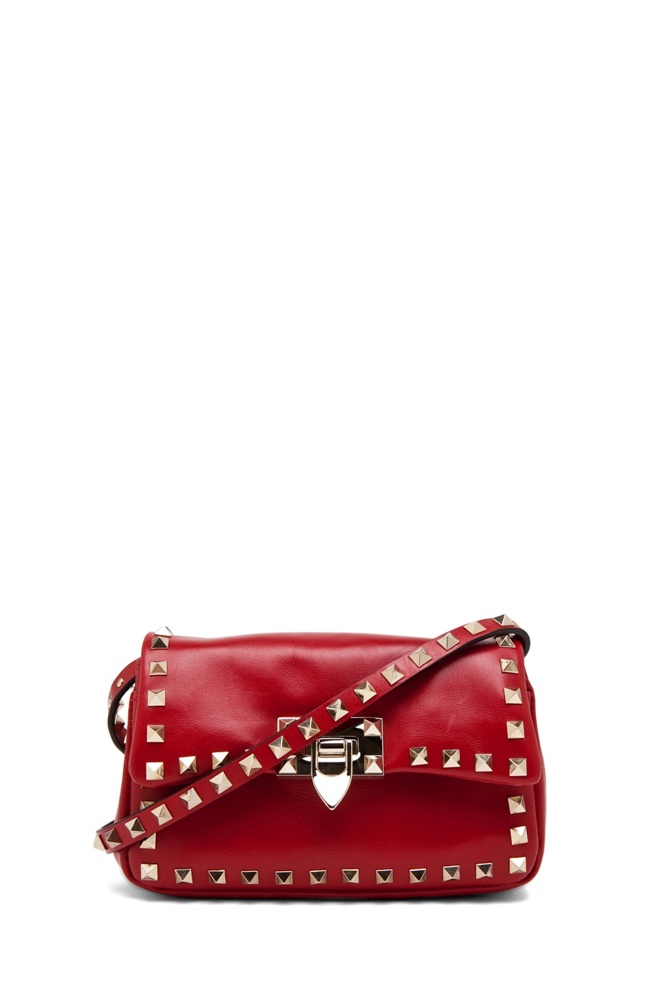 Image 1 of Valentino Rockstud Flap Bag in Red