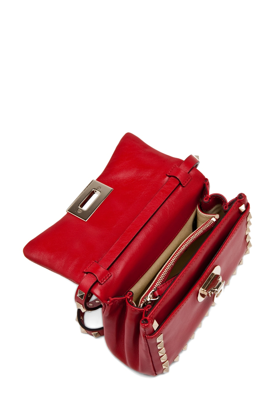 Image 4 of Valentino Rockstud Flap Bag in Red