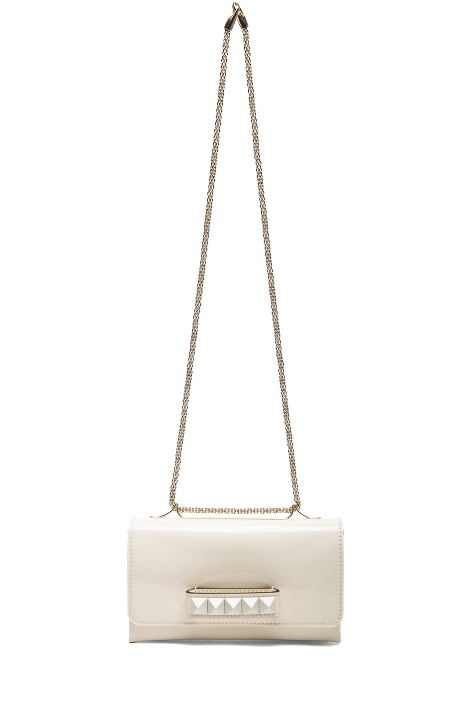 Image 6 of Valentino Medium Punkouture Flap Bag Patent in Light Ivory