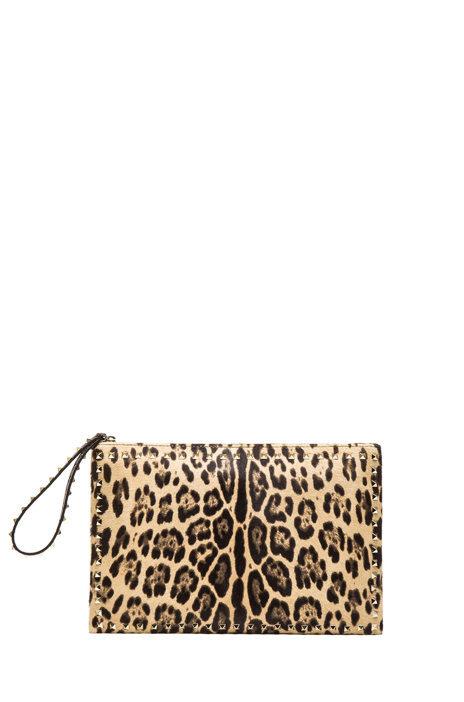 Image 1 of Valentino Small Rockstud Clutch in Leopard