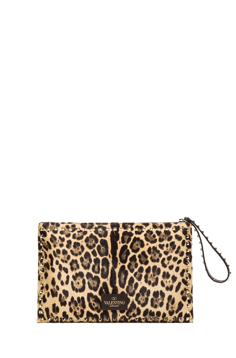Image 2 of Valentino Small Rockstud Clutch in Leopard