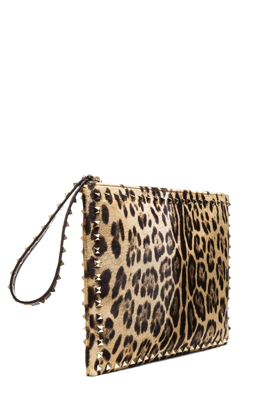 Image 3 of Valentino Small Rockstud Clutch in Leopard