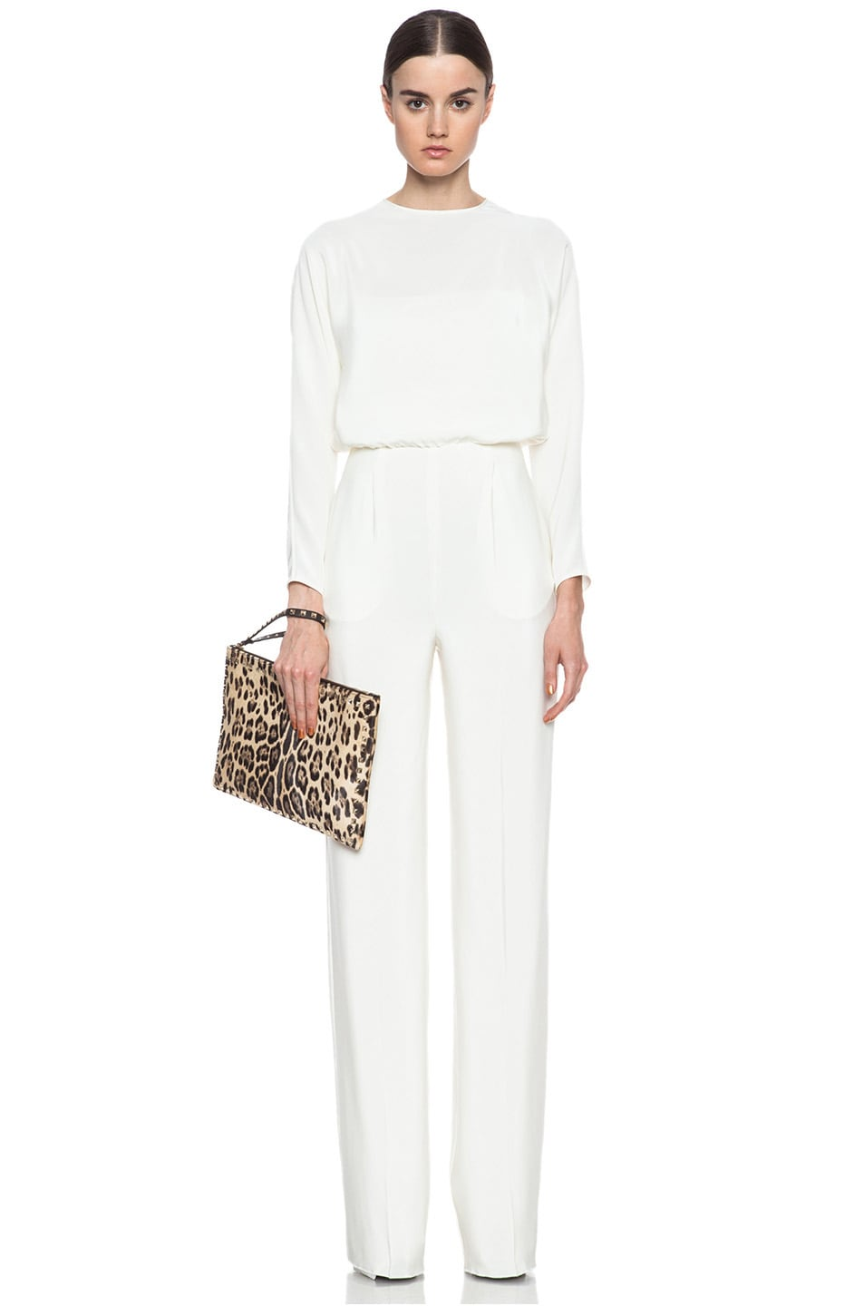 Image 5 of Valentino Small Rockstud Clutch in Leopard