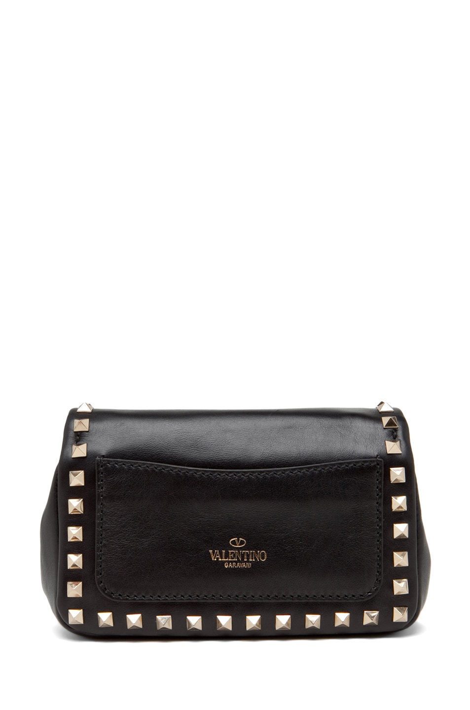 Image 2 of Valentino Rockstud Flap Bag in Black