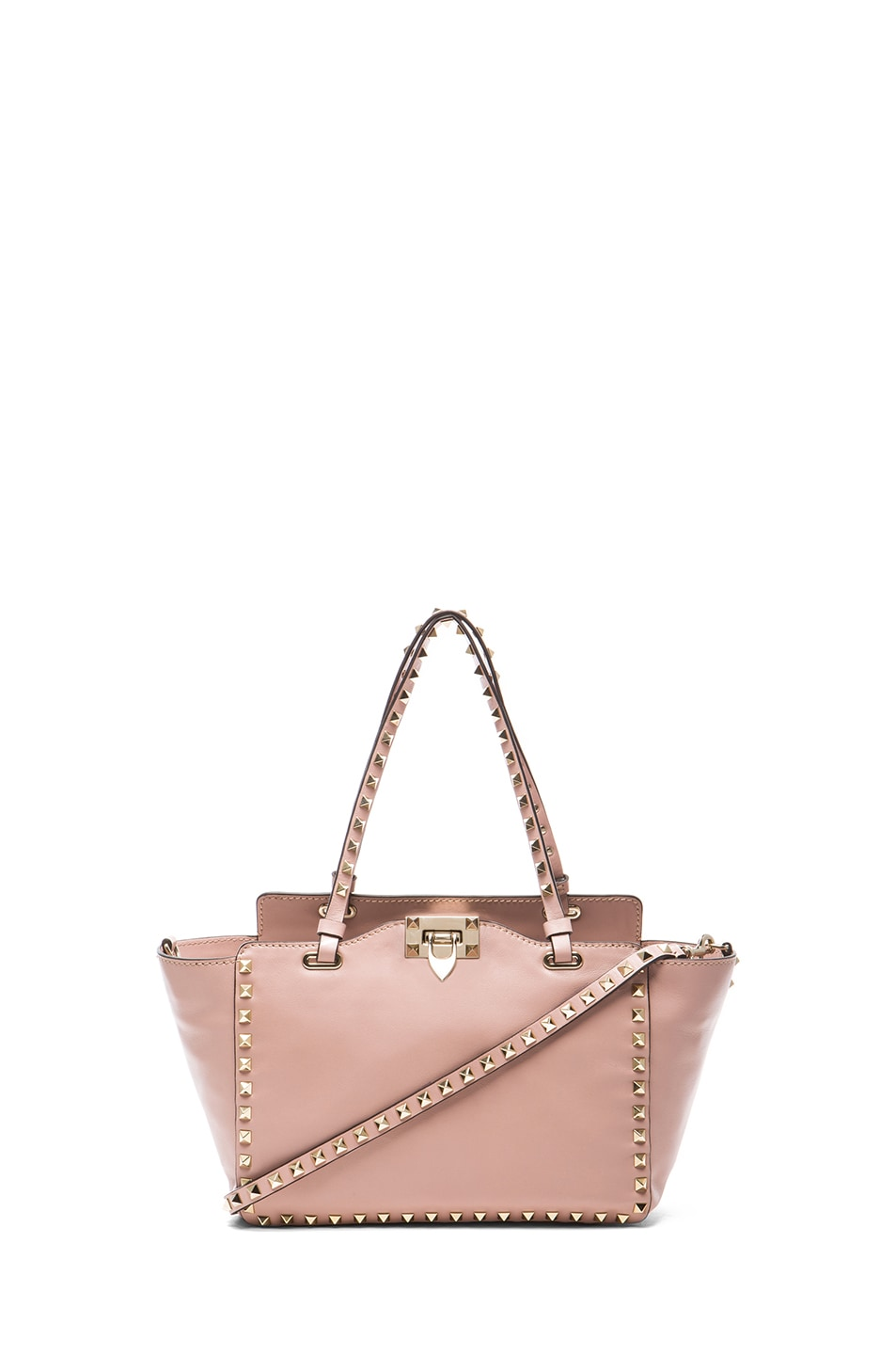 Image 1 of Valentino Mini Rockstud Trapeze Tote in Waxy Rose