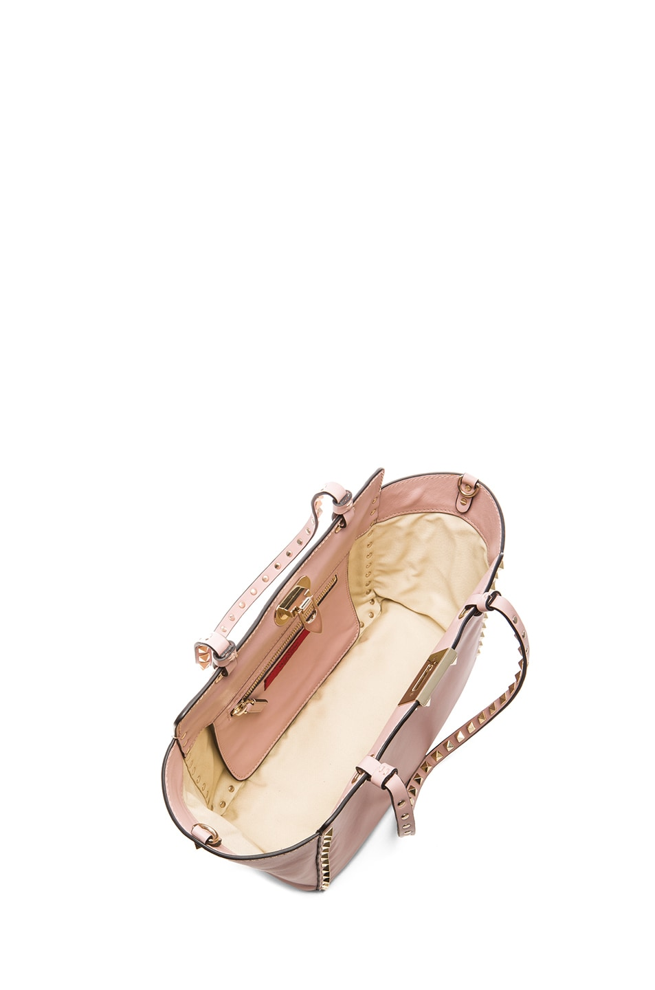 Image 4 of Valentino Mini Rockstud Trapeze Tote in Waxy Rose