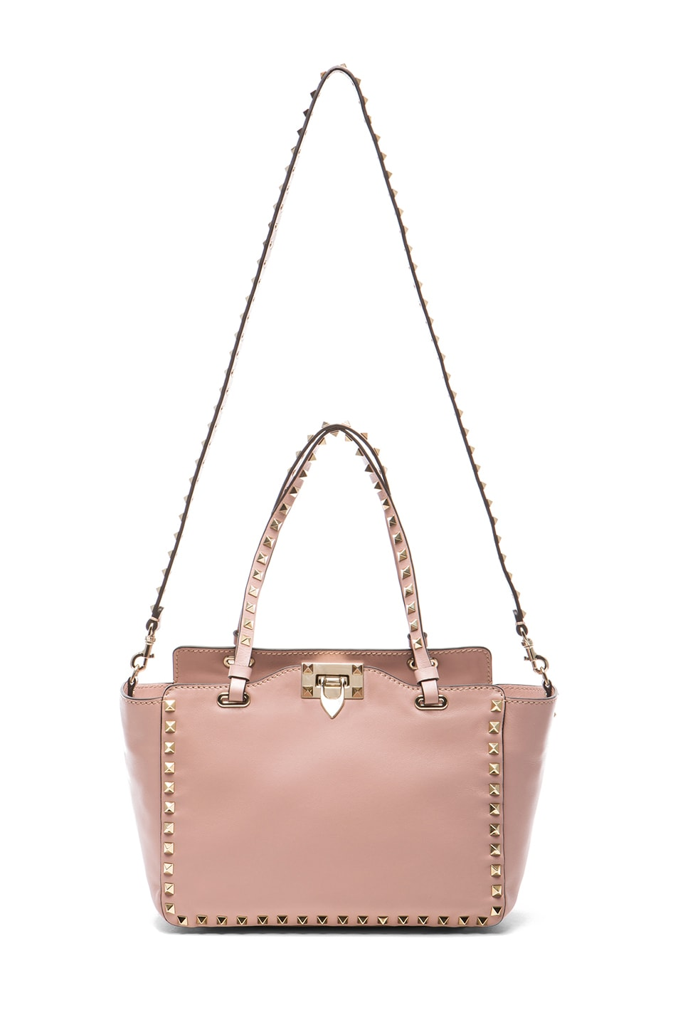 Image 5 of Valentino Mini Rockstud Trapeze Tote in Waxy Rose