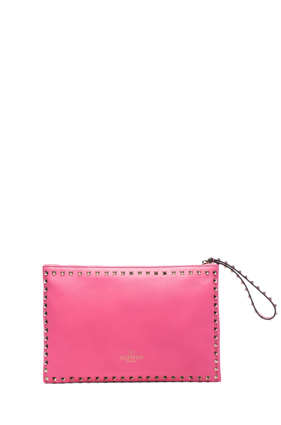 Image 2 of Valentino Small Rockstud Clutch in Fluo Pink