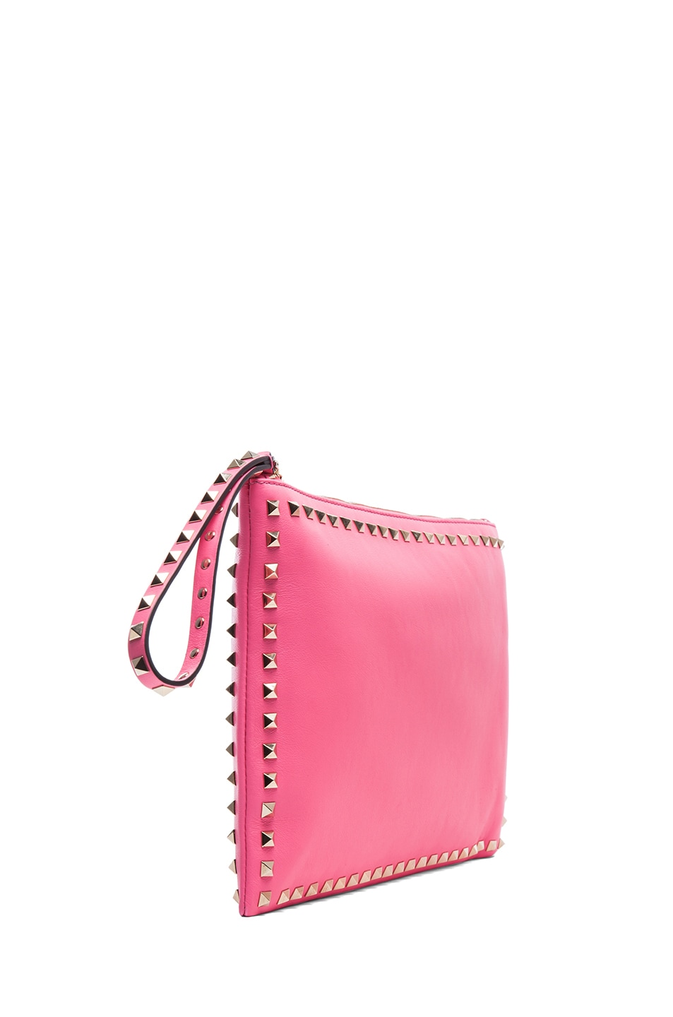 Image 3 of Valentino Small Rockstud Clutch in Fluo Pink