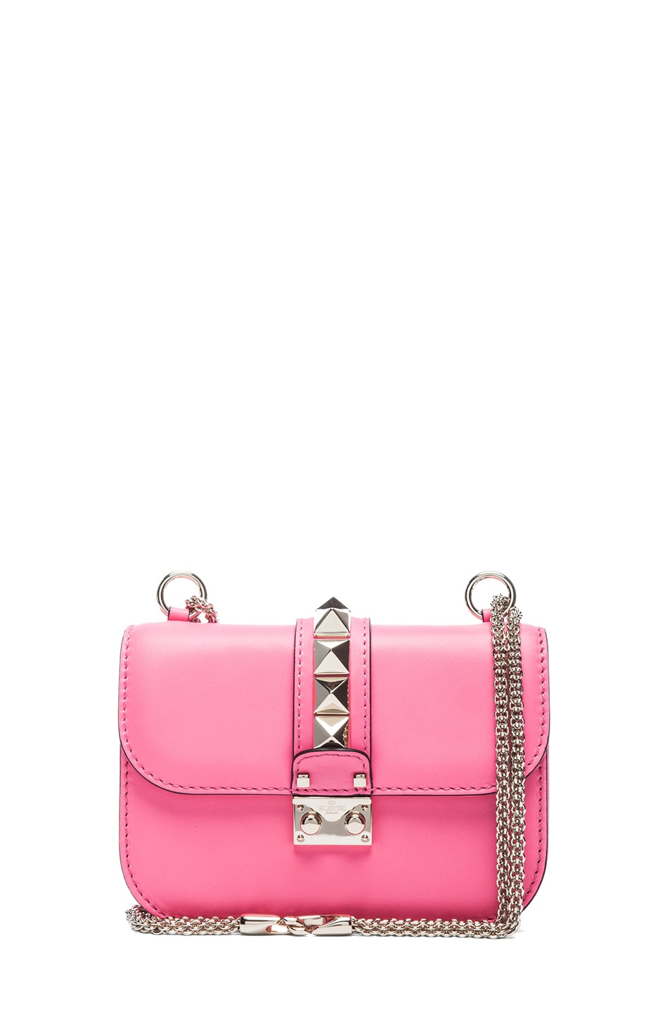 Image 1 of Valentino Small Lock Flap Bag in Fluo Pink