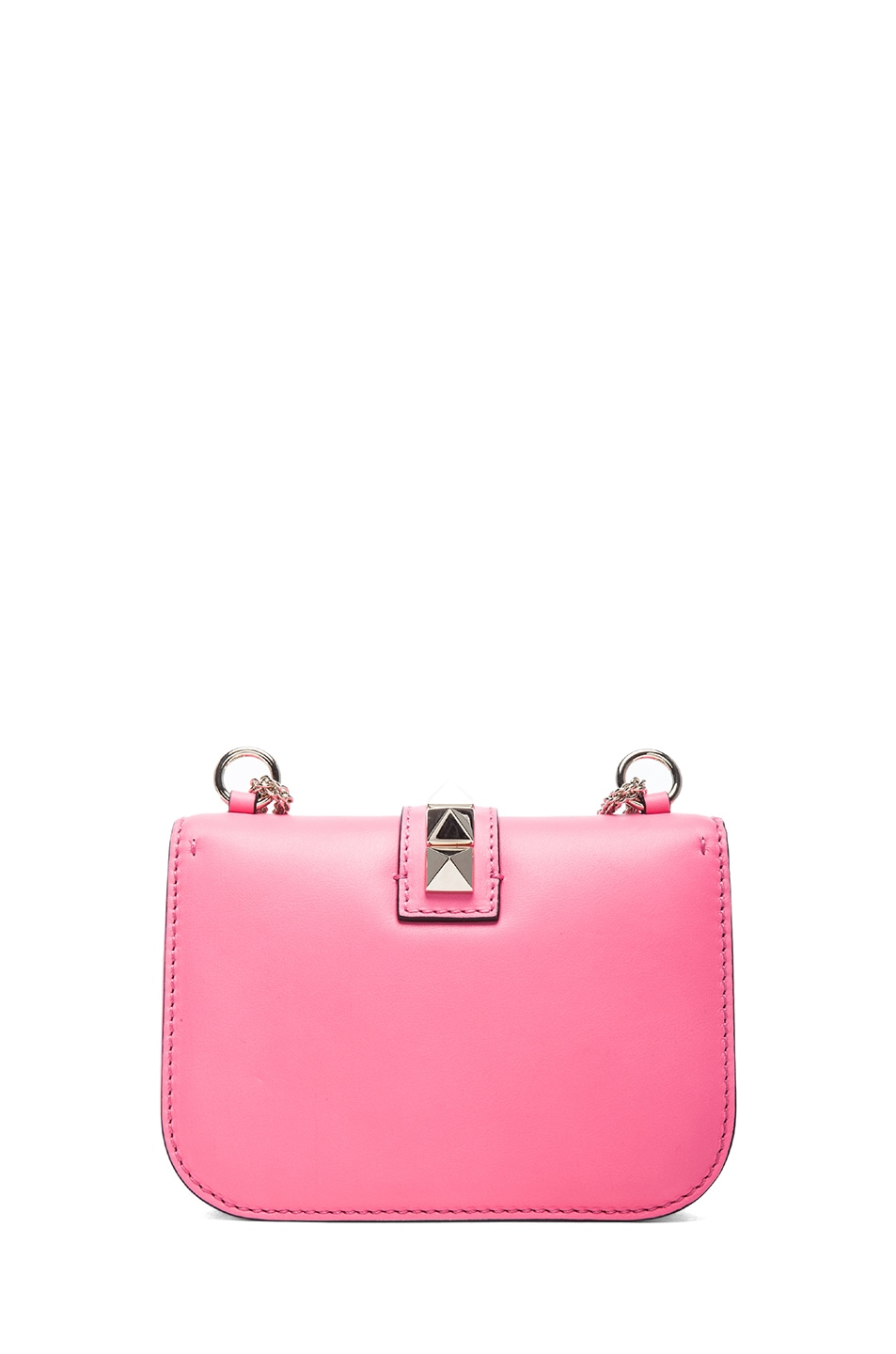 Image 2 of Valentino Small Lock Flap Bag in Fluo Pink