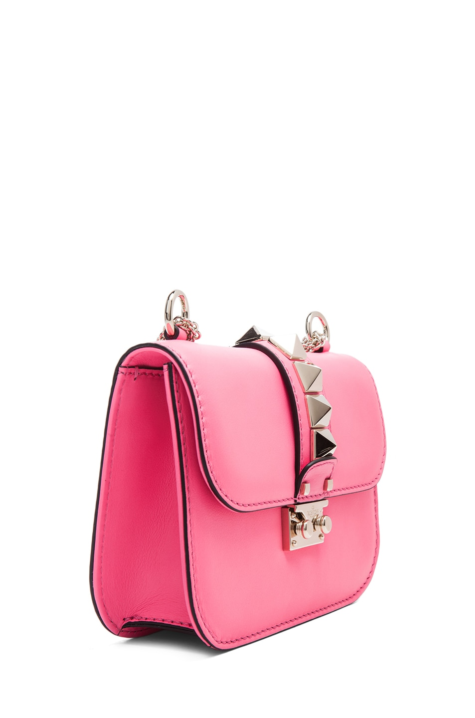 Image 3 of Valentino Small Lock Flap Bag in Fluo Pink