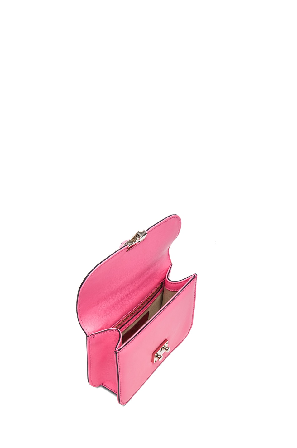 Image 4 of Valentino Small Lock Flap Bag in Fluo Pink