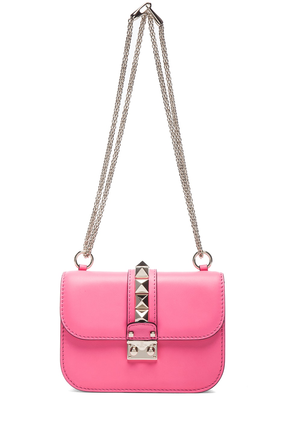 Image 5 of Valentino Small Lock Flap Bag in Fluo Pink