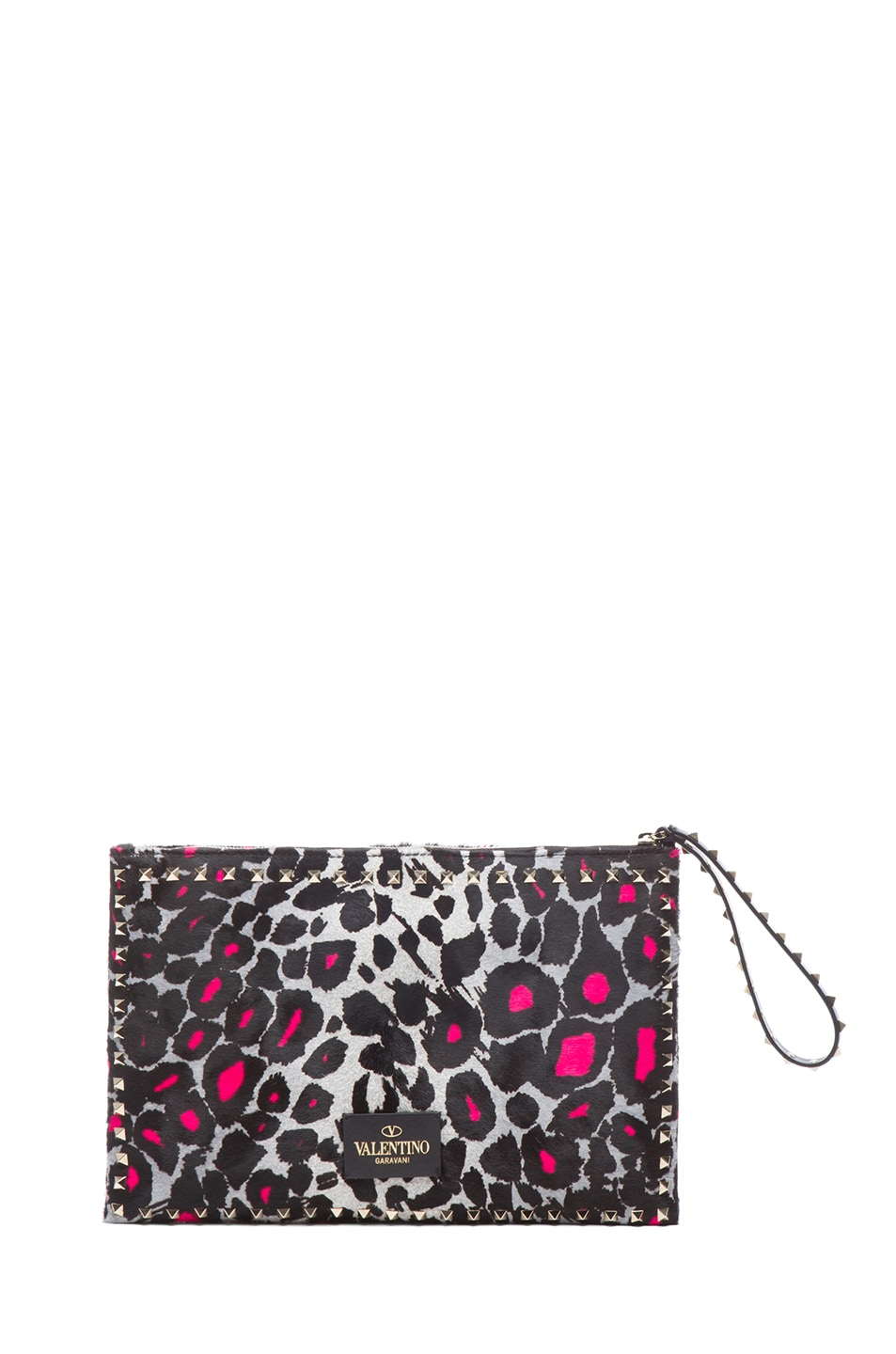 Image 2 of Valentino Small Cheetah Rockstud Clutch in Fluo Pink