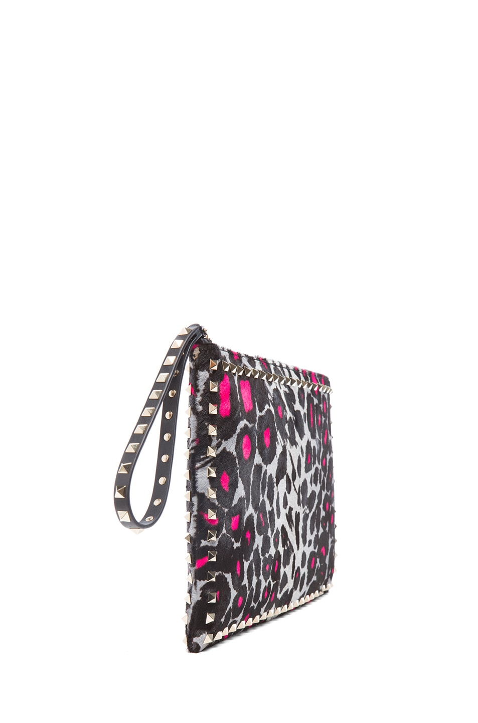 Image 3 of Valentino Small Cheetah Rockstud Clutch in Fluo Pink