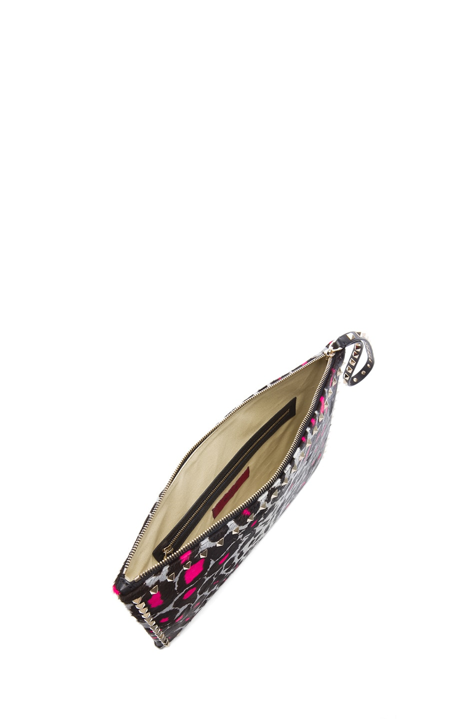 Image 4 of Valentino Small Cheetah Rockstud Clutch in Fluo Pink
