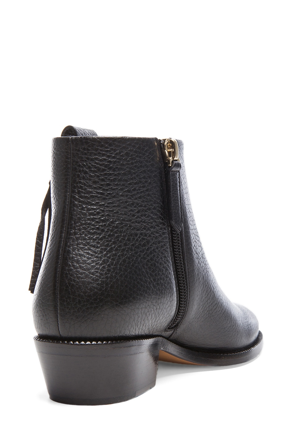 Image 3 of Valentino Fringe Grained Leather Ankle Boots in Black