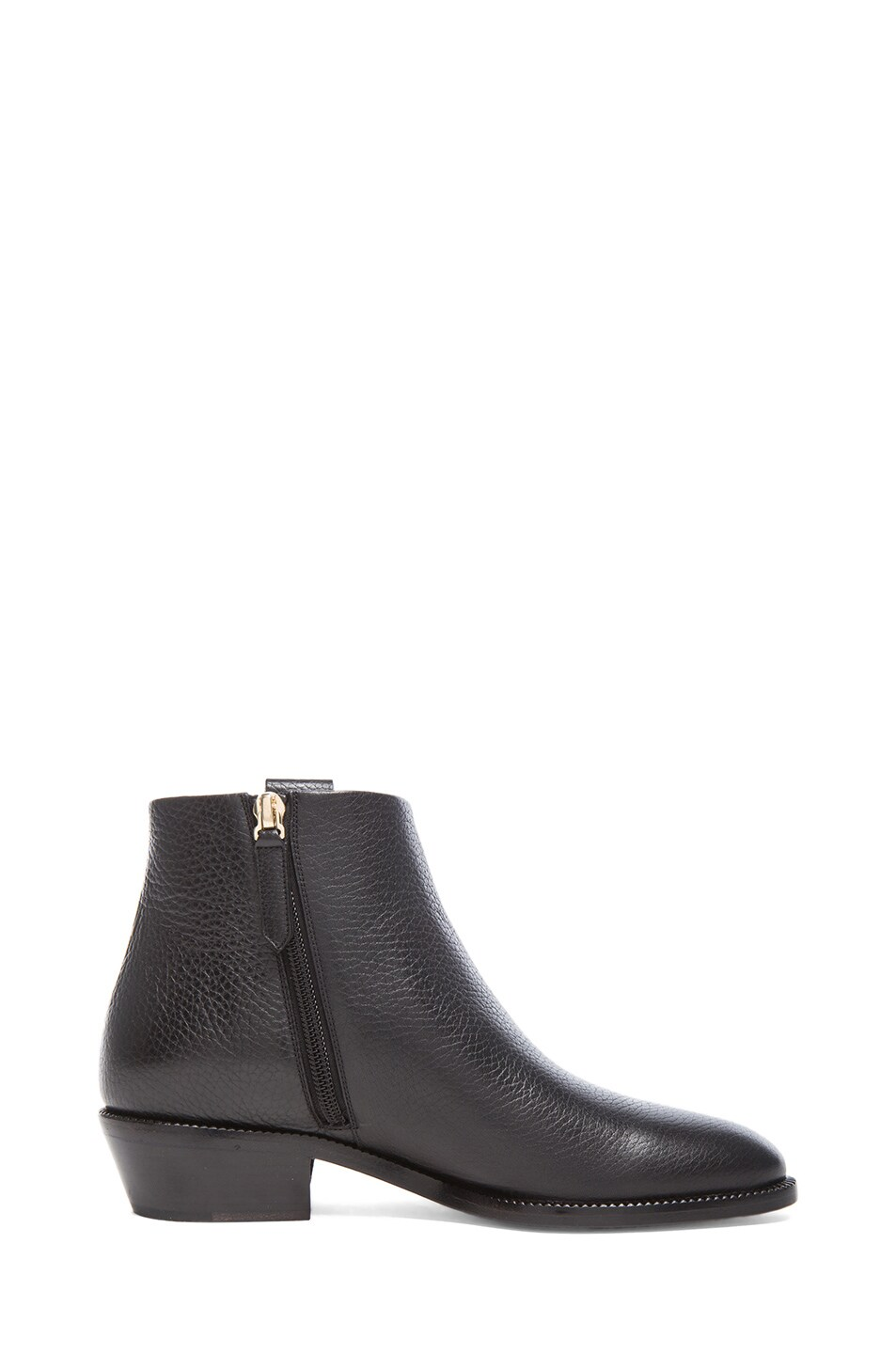 Image 5 of Valentino Fringe Grained Leather Ankle Boots in Black