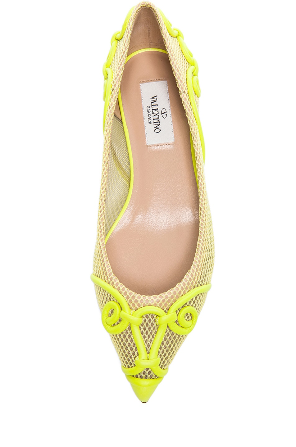Image 4 of Valentino Intrigate Mesh Flats in Fluorescent Yellow