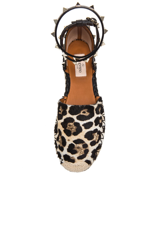 Image 4 of Valentino Cavallino Double Rockstud Leopard Espadrilles in Moro, White, and Black