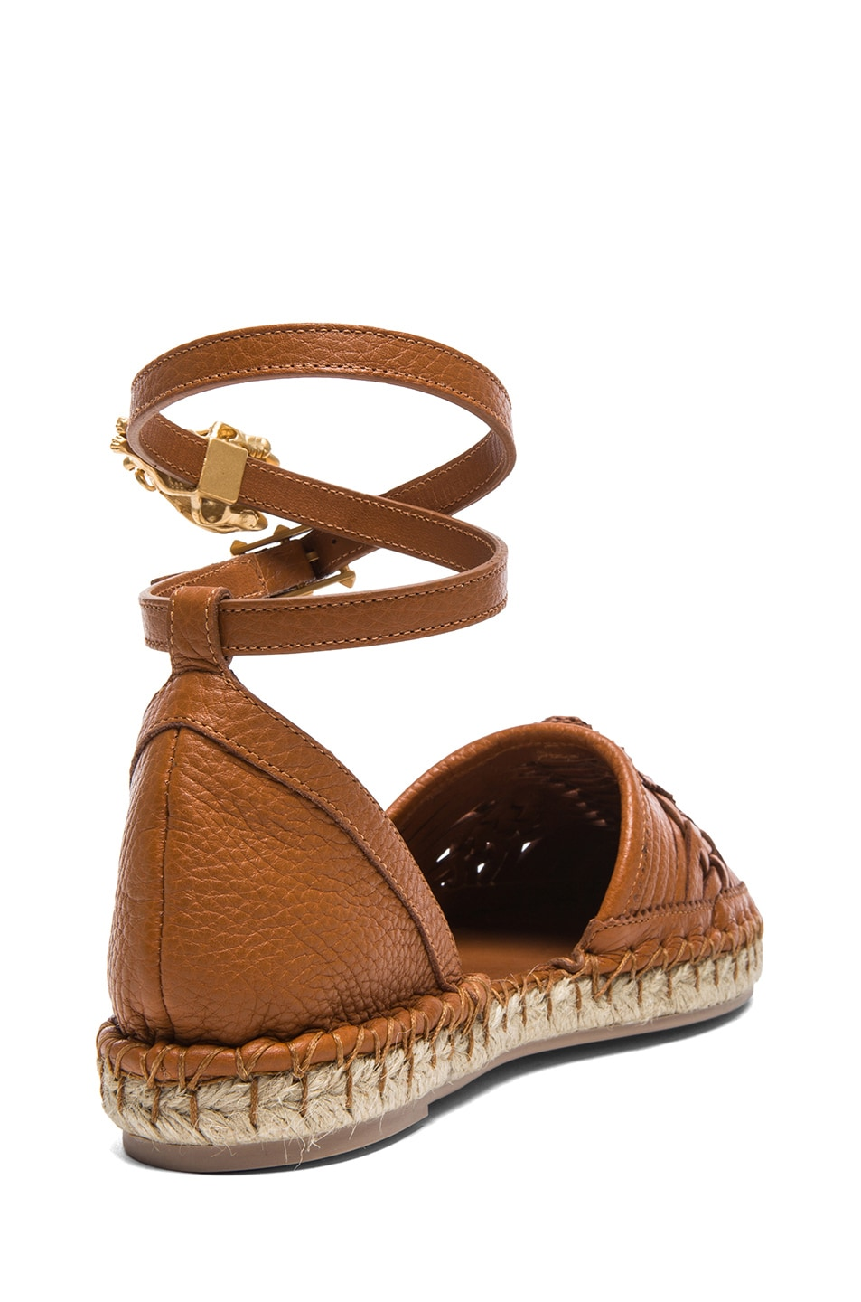 Image 3 of Valentino Ethno Grained Leather Bondage Espadrilles in Light Cuir