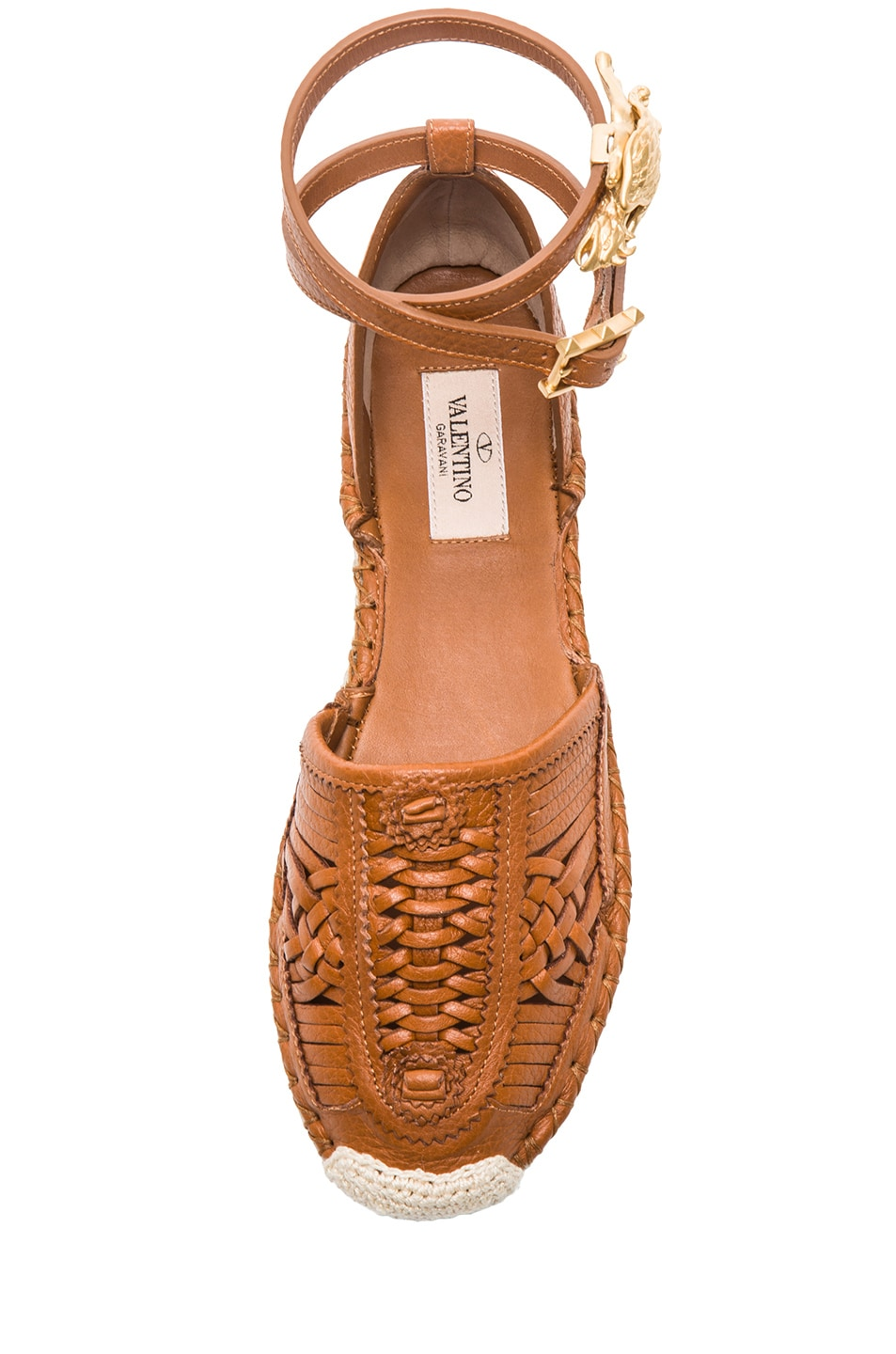 Image 4 of Valentino Ethno Grained Leather Bondage Espadrilles in Light Cuir