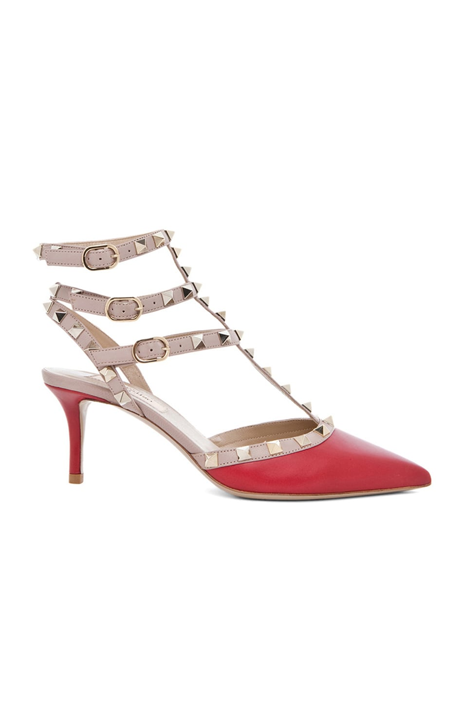 Image 1 of Valentino Rockstud Leather Slingbacks T.65 in Red