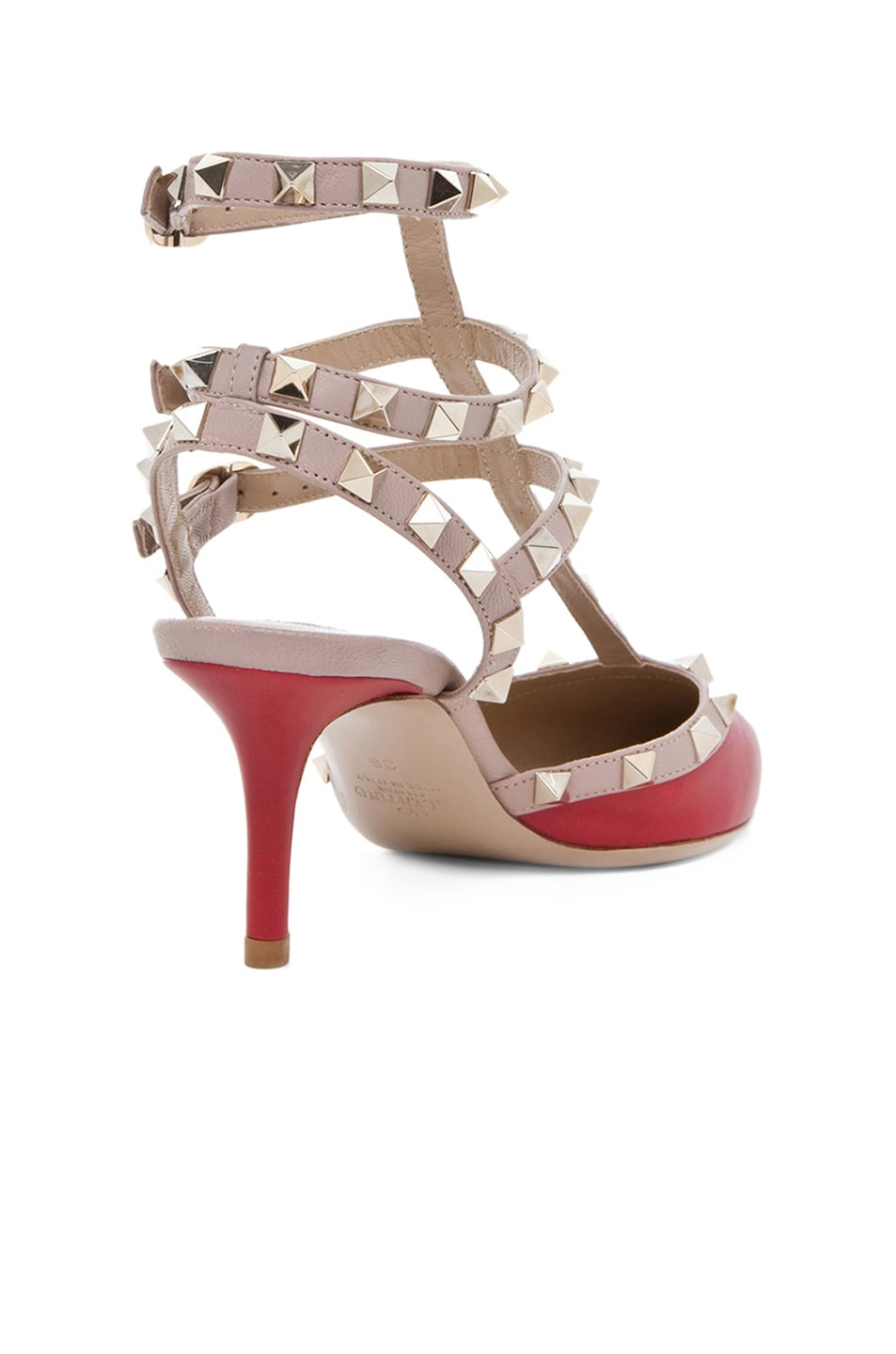 Image 3 of Valentino Rockstud Leather Slingbacks T.65 in Red