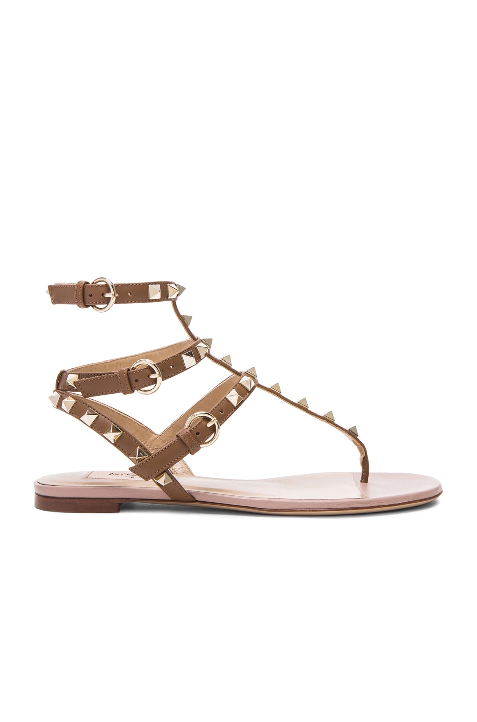 Image 1 of Valentino Rockstud Gladiator Leather Sandals T.05 in Deep Cuir