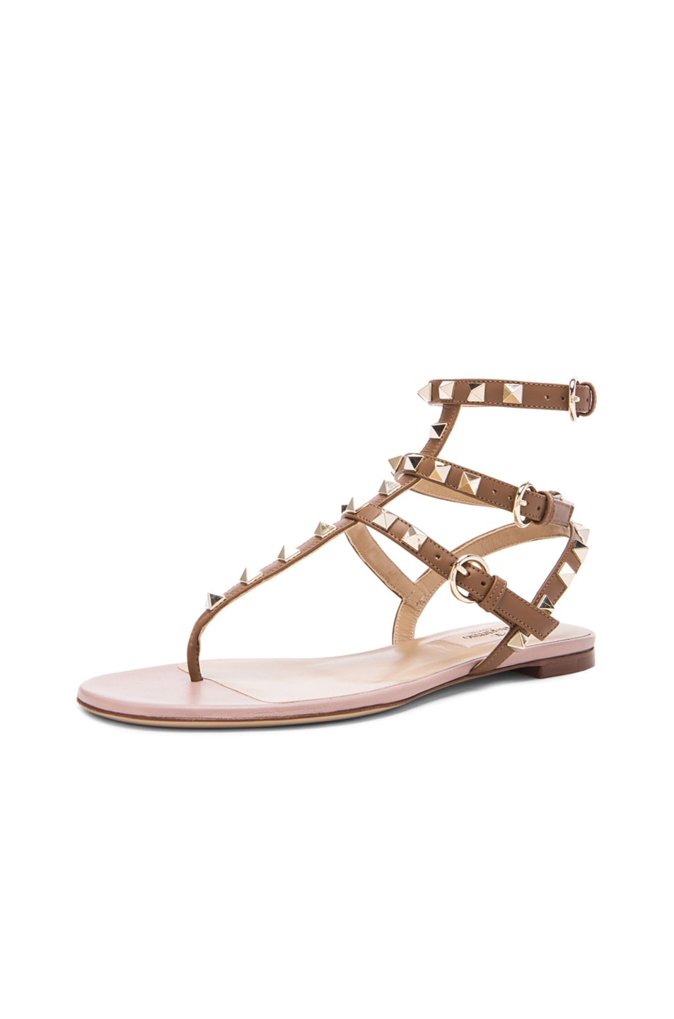 Image 2 of Valentino Rockstud Gladiator Leather Sandals T.05 in Deep Cuir