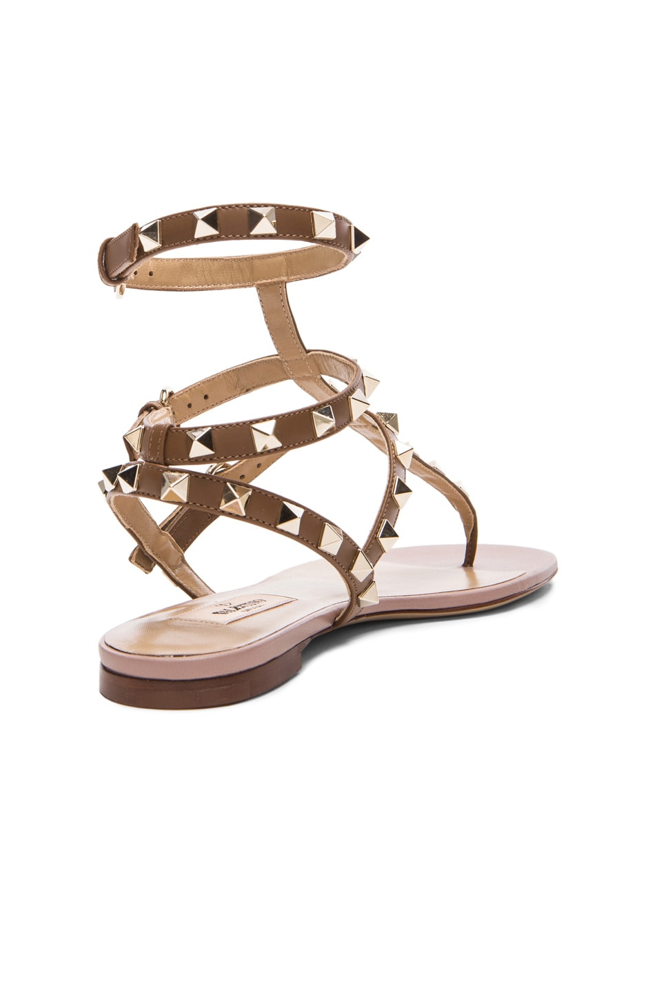 Image 3 of Valentino Rockstud Gladiator Leather Sandals T.05 in Deep Cuir