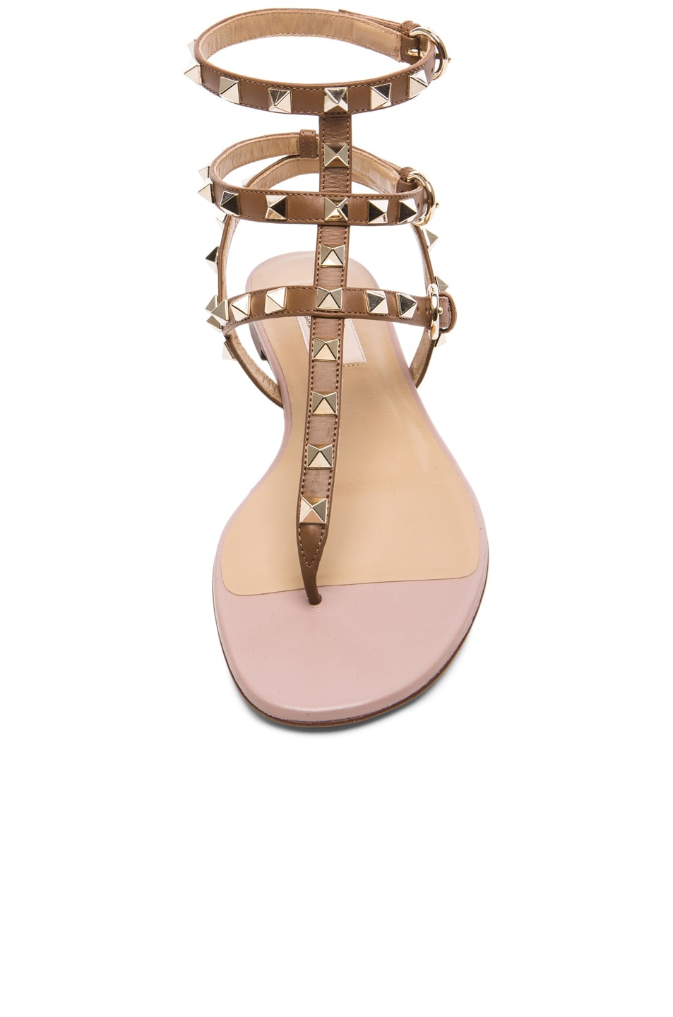 Image 4 of Valentino Rockstud Gladiator Leather Sandals T.05 in Deep Cuir