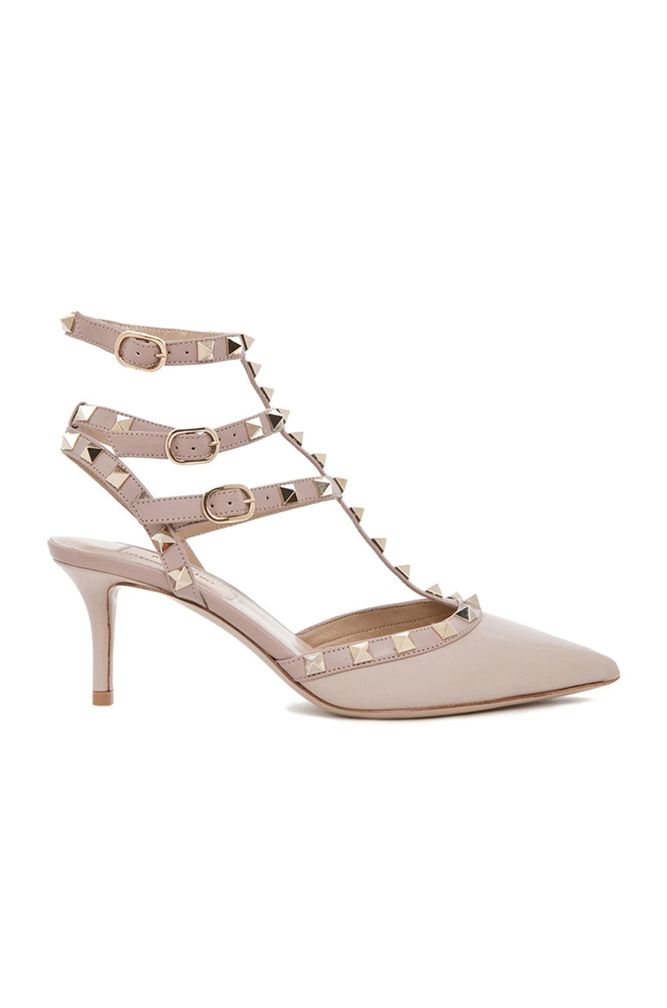 Image 1 of Valentino Rockstud Leather Slingbacks T.65 in Powder