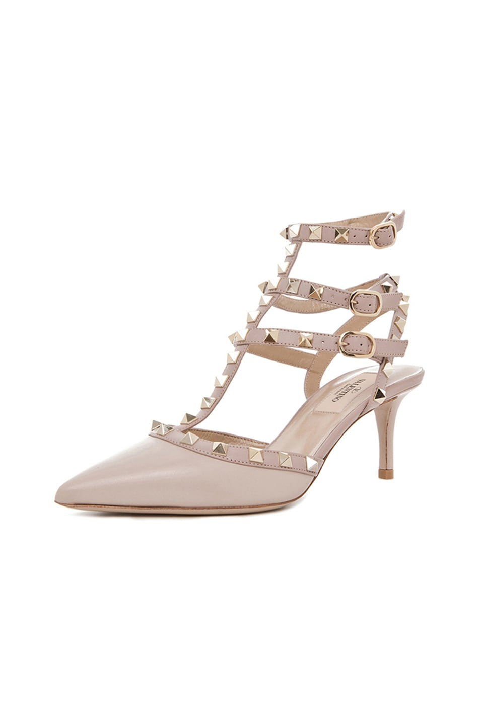 Image 2 of Valentino Rockstud Leather Slingbacks T.65 in Powder