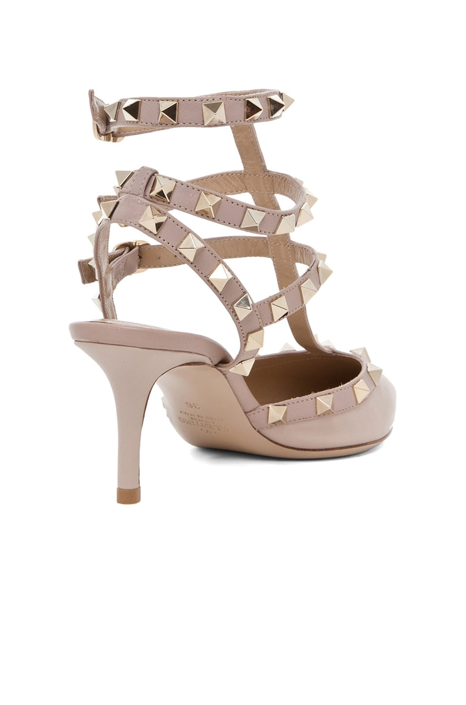 Image 3 of Valentino Rockstud Leather Slingbacks T.65 in Powder