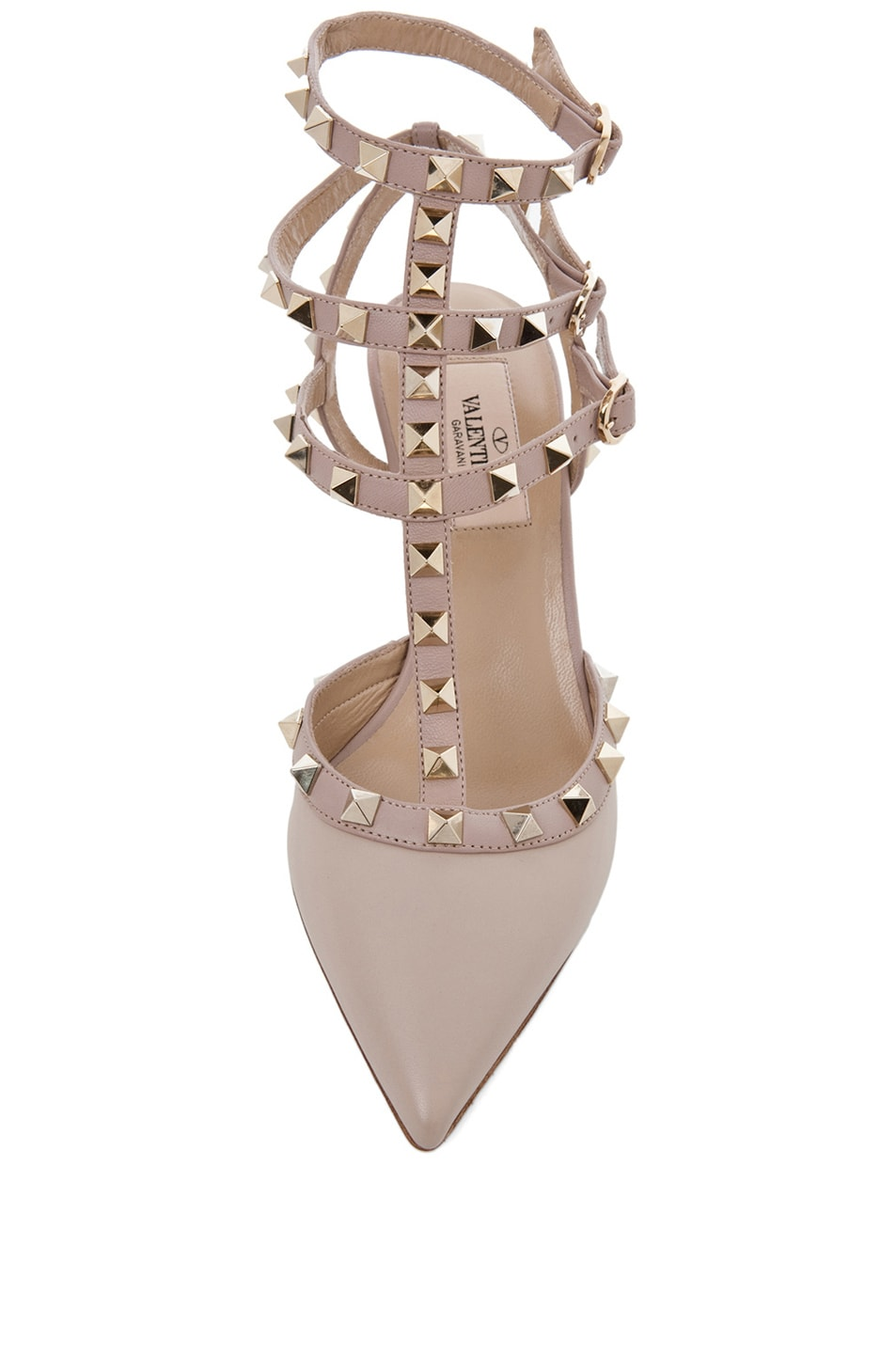 Image 4 of Valentino Rockstud Leather Slingbacks T.65 in Powder
