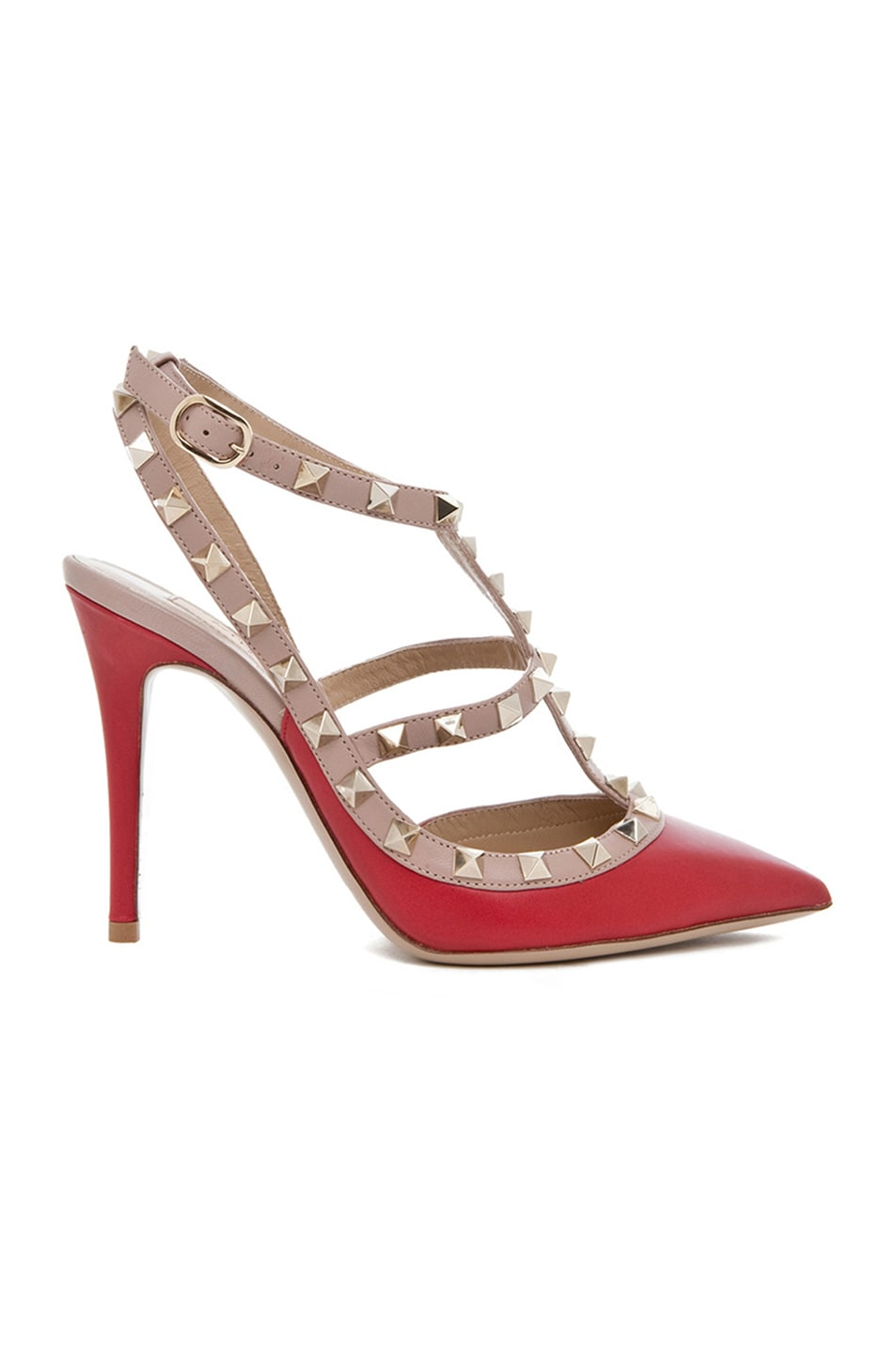 Image 1 of Valentino Rockstud Leather Slingbacks T.100 in Red