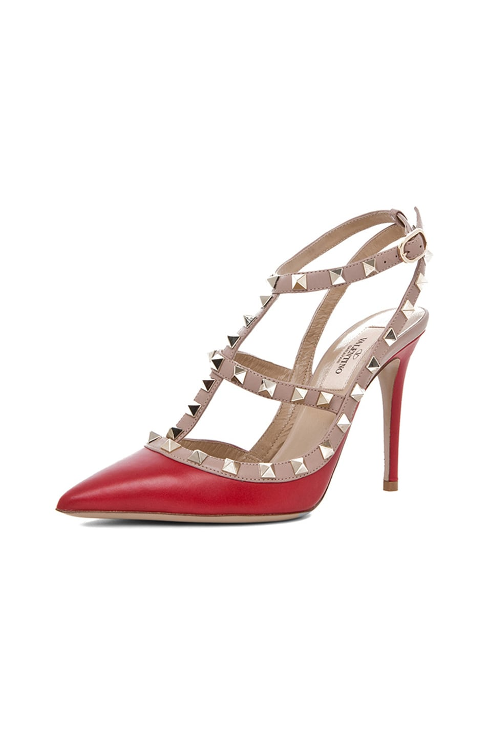 Image 2 of Valentino Rockstud Leather Slingbacks T.100 in Red