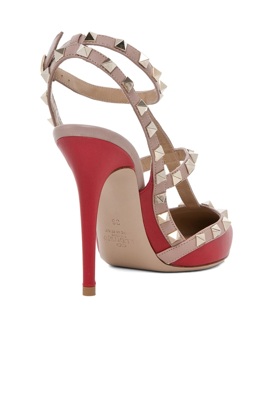Image 3 of Valentino Rockstud Leather Slingbacks T.100 in Red
